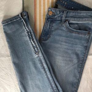 White House Black Market Embellished AnkleZip Jean